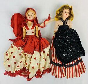 Arco? Dolls of the World by Atlantic Richfield Vintage Lot of 2 MCM Sleepy Eyes
