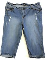 Lane Bryant Jeans 24 Crop Capri Medium Wash Distressed Metallic Stud