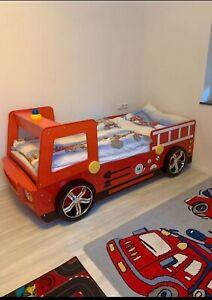 Feuerwehrautobett 180×90 + Teppich Kinderbett Kinderzimmer Jungen mit Licht