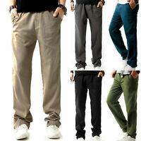 Men's Linen Loose Pants Summer Elastic Waist Straight Leg Casual Trousers