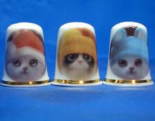 Birchcroft China Thimbles -- Set of Three -- Cats in Hats