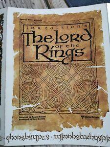 Rare Synopsis original lord of the rings, le seigneur des anneaux de 1978