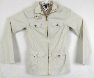 Tommy Hilfiger Women Ivory White Zip Solid Jacket Cotton Nylon Size XS