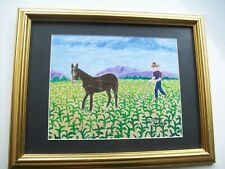 Vintage Folk Art Print JOE SHARP Vet.  PLOWING CORN Mule Field Madisonville TN