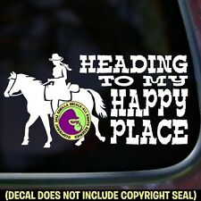 HAPPY PLACE Trail Rider Horse Car Window Trailer Truck Sign Vinyl Decal Sticker