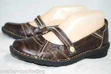 CLARKS Bendables 60506 Wo's 6.5 Marbled Brown Leather Mary Janes Accent Stitch