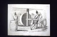 Incisione d'allegoria e satira Ferdinando di Borbone, Sicilia Don Pirlone 1851