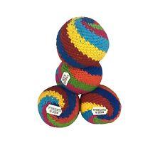 Set of 4 Hacky Sacks Juggling Balls Footbag Spin Made In Guatemala Magic Toy
