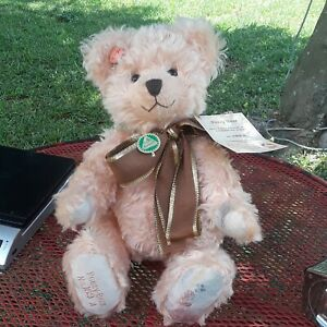 """NWT VINTAGE HERMANN PEACH MOHAIR POESY BEAR #163 of 500 JOINTED ~14"""" GERMANY"""