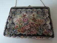 Gobelin-Tasche,Dekor Blüten,antik