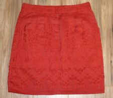 Anthropologie womens size 8 burnt orange skirt floral embroidery linen pockets