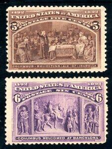 USAstamps Unused FVF US 1893 Columbian Expo Scott 234, 235 OG MHR