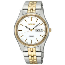 Seiko Solar SNE032 Mens Stainless Steel Two Tone Day Date White Dial 37mm Watch