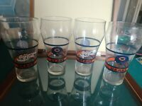 "4 CHICAGO BEARS/COCA-COLA Contour Glass Tumbler~6"" Tall~Excellent Condition!"