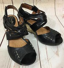 Clarks Artisan Active Air KYNA SMART Black Leather Wedge Heel Sandals Size 6M