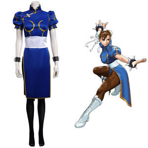 Game Street Fighter(SF) Chun Li Cosplay Costume Cheongsam Dress Halloween Outfit