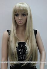 Excellent Blonde Mixed Long Straight bangs Women Ladies Daily wig FTLC140