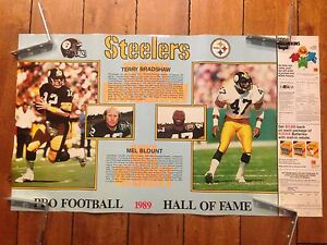 1989 TERRY BRADSHAW MEL BLOUNT HALL OF FAME PITTSBURGH STEELERS POSTER 21 X 36