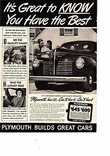 Vintage 1940 Plymouth Automobile Ad Car Advertising