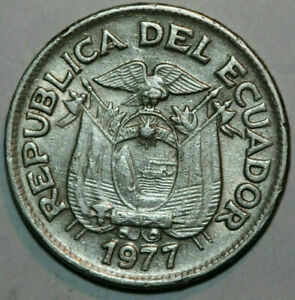 1977 Ecuador 50 Centavos coin Peace with the National arms Age 44 km #81 for you