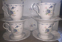 Set of 4 Vintage Nikko Tableware Blue Peony Footed Tea Cups & Saucers Japan