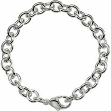 Cable Link Charm Bracelet with Lobster Clasp 9.5 mm wide Solid Sterling Silver