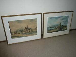 VINTAGE 1960s PAIR LARGE PHILIP LUTON WATERCOLOURS FERNTREE GULLY ARTS SOCIETY