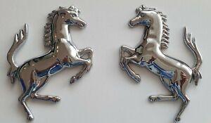 A Pair Quality 3D Metal Running Horse Car Emblem Sticker Decal Silver *UK Stock