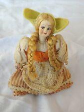 Antique Dutch Girl Paper Mache Cloth Doll