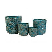 Ceramic Planter Set 4 Pots Turquoise Blue Paisley Flower Container Garden Plant