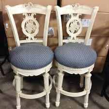 """2 Frontgate Provencal Carved Grape White NAVY Barstool BAR stools chair 30"""""""