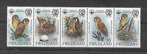 SWAZILAND - BIRD strip of Owls - MNH 1982 - CV $ 150,00 (k06)