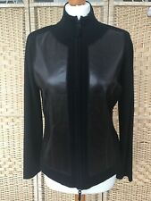 OUI Black Zip Up Cardigan Jacket Top 50% Wool Brown Faux Leather Panel Front