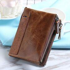 Men Fashion Short Wallet Genuine Cowhide Purse Crazy Horse Leather