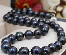 Real 8-9mm Natural Black Freshwater Cultured Pearl Necklace 18 Inch