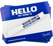 100 X Azul Montana Hola mi nombre es Pegatinas + Marcador Negro