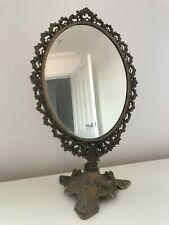 Shabby Chic Vintage Oval Shaped Swivel Dressing Table Mirror Gold Brass effect