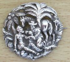Old Silvertone White Metal Good Samaritan Brooch, Pierced and Relief Moulded