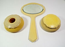 Vintage Dresser Set Ivory Pyralin Dubarry Hair Receiver Powder Jar Mirror