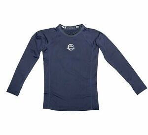 Fuji Kids Youth Childrens Baseline BJJ Jiu Jitsu LongSleeve Rashguard  Navy Blue