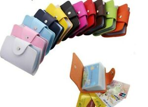 Faux Leather ID Credit Card Holder Case Wallet 24 Cards IDs Business Cards
