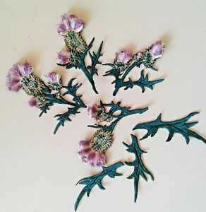Thistle Flowers Set Extra Quality Sew-On Embroidered Patch Applique