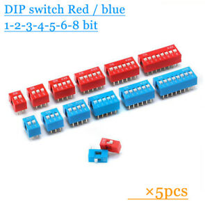5pcs DIP switch Coding switch Flat dip switch 1/2/3/4/5/6/8 bit Dial switch