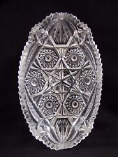 Crystal Tray with Star Design Oblong Vintage