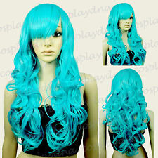 "28"" Heat Resistant Miku Green Curly Long Cosplay Wigs with Side Bangs 70MGG"