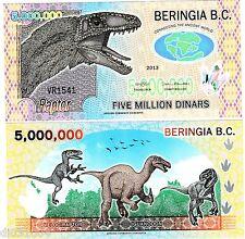 BERINGIA B.C. Billet 5000000 5 Million DINARS 2013 Dinosaurs POLYMER UNC NEUF
