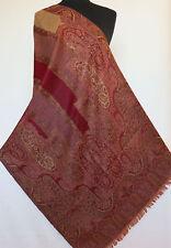 Festive Red. Wool, Jamavar Shawl. Paisley, Jacquard Stole. India, Jamawar Wrap