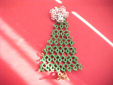 """Tatted  CHRISTMAS TREES (4) by Dove Country Tatting 5"""" Tall Gift Tag Decoration"""