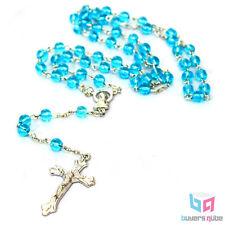 "Beautiful Aqua Round Glass Beads Rosary 20"" Length w/ Enlarged Madonna Center"