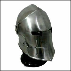 Medieval Knights Barbuta Helmet Templar Crusader Armor Barbute Visor Helmet